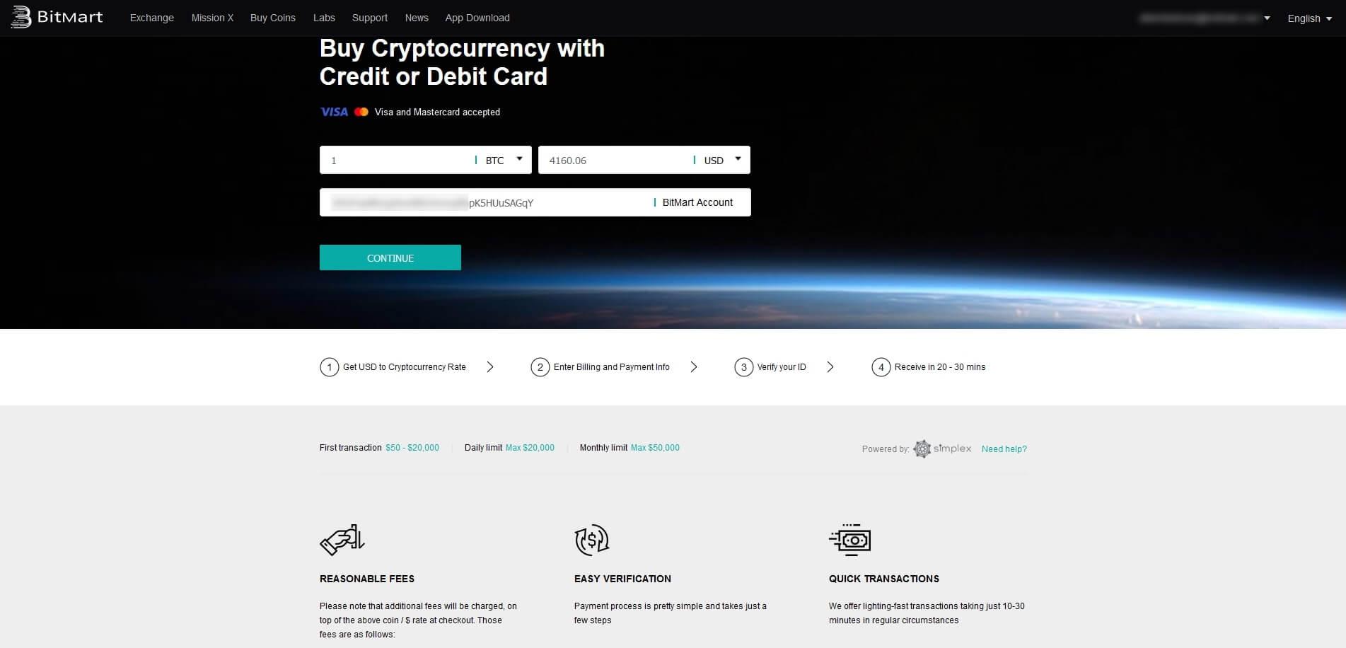 Achat de cryptomonnaies cbez Bitmart par CB