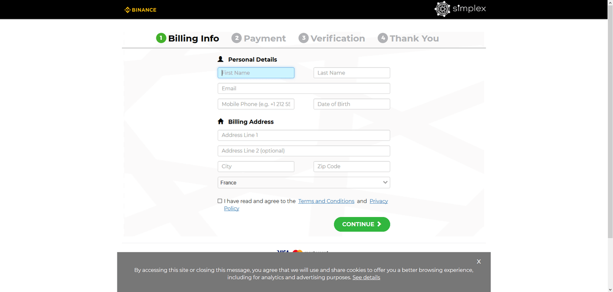 """Remplissez les """"billing info"""" simplex"""