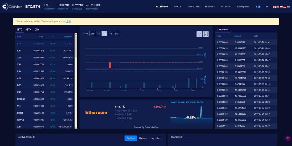 Coinbe plateforme de trading 1/2