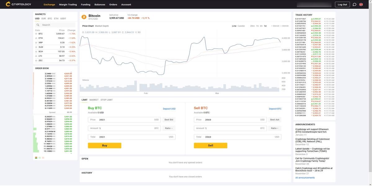 Cryptology plateforme de trading