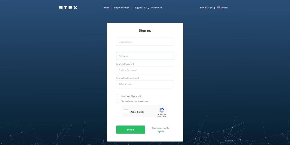 Formulaire d'inscription STEX