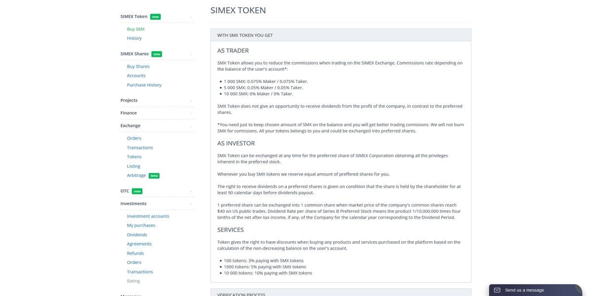 SMX token de Simex