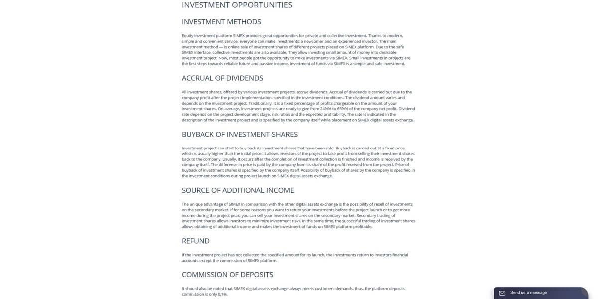 Liste des investissements possibles chez Simex