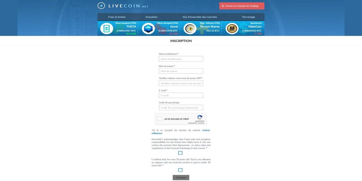 Livecoin inscription