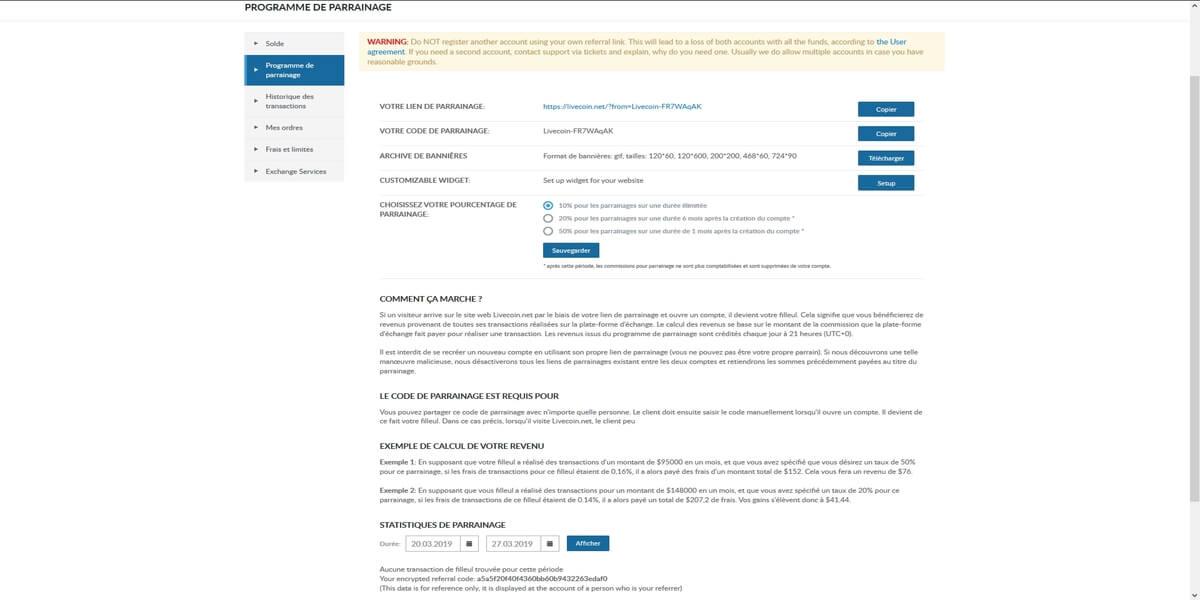 Programme de parrainage chez Livecoin