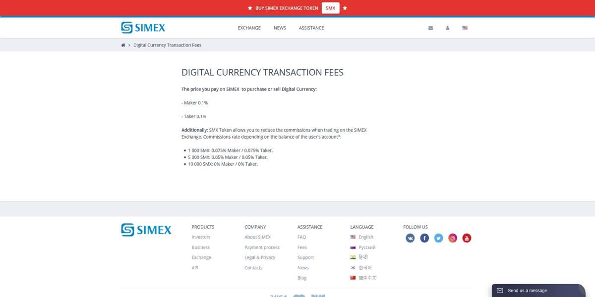 Frais de trading de Simex