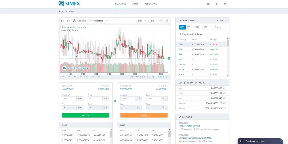 Plateforme de trading de cryptomonnaies Simex