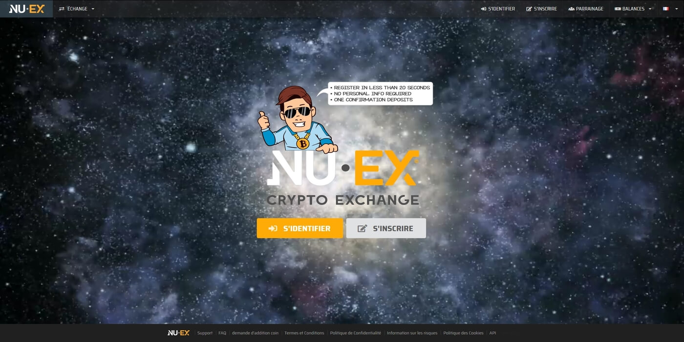 Acheter cryptomonnaies chez Nuex