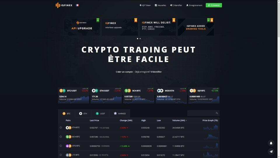 Acheter des cryptomonnaies chez IQFinex