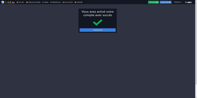 Confirmation compte ouvert Txbit