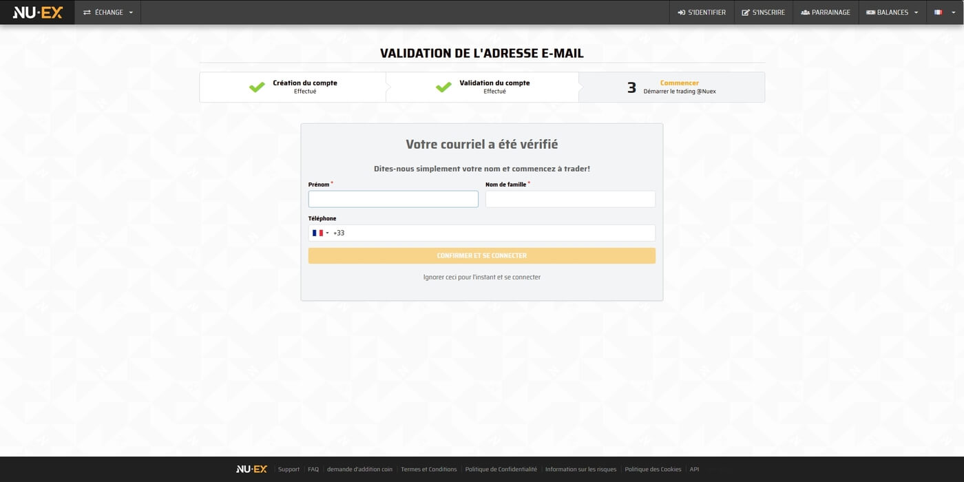 Demande informations complémentaires Nuex