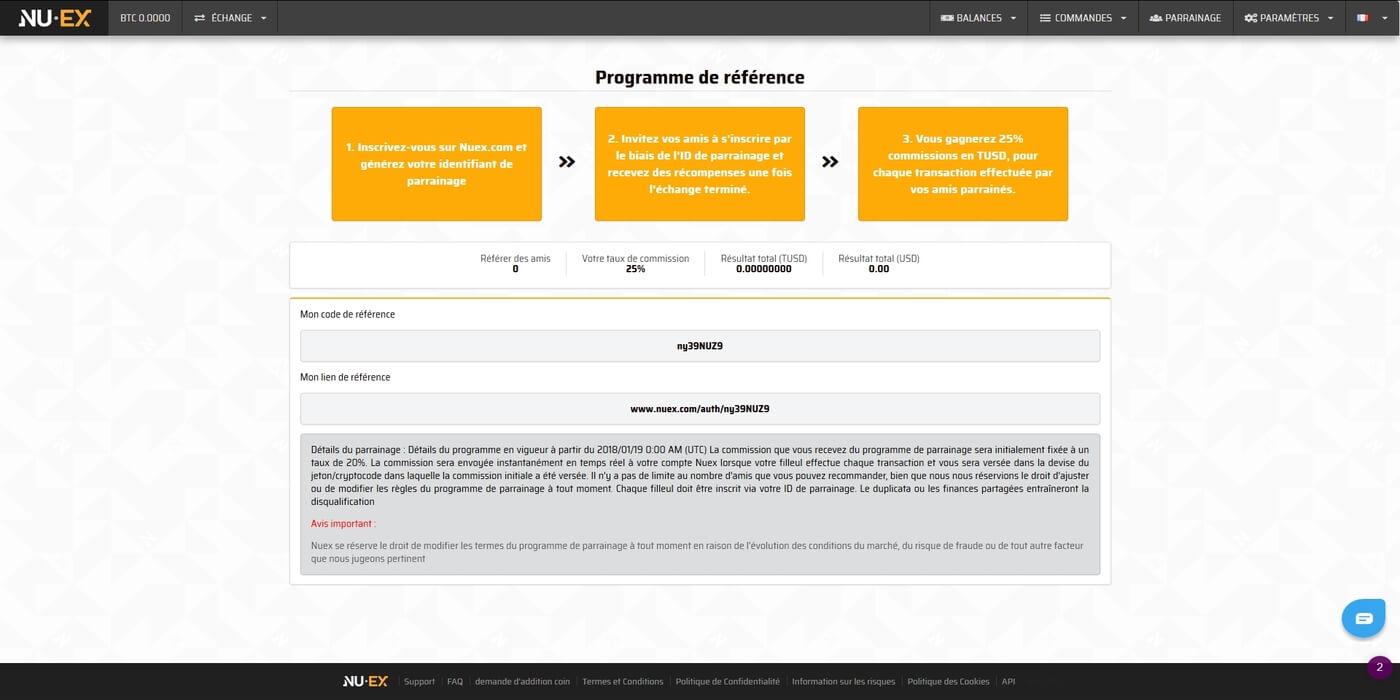 Programme de parrainage de Nuex