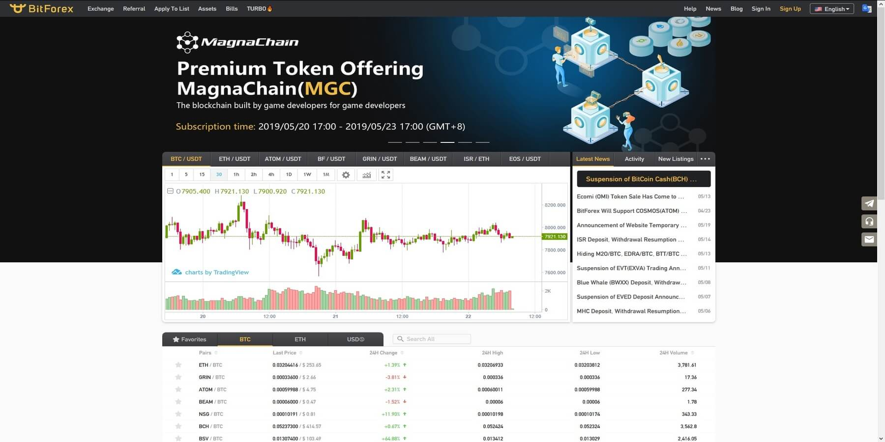 Acheter des cryptomonnaies sur BitForex