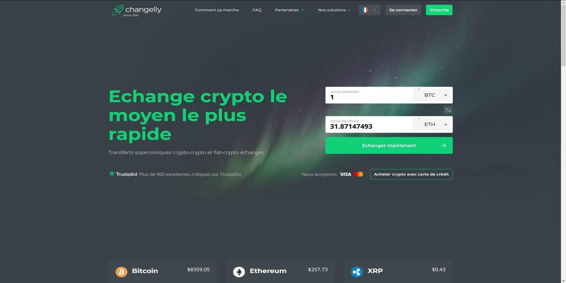 Acheter des cryptomonnaies chez Changelly