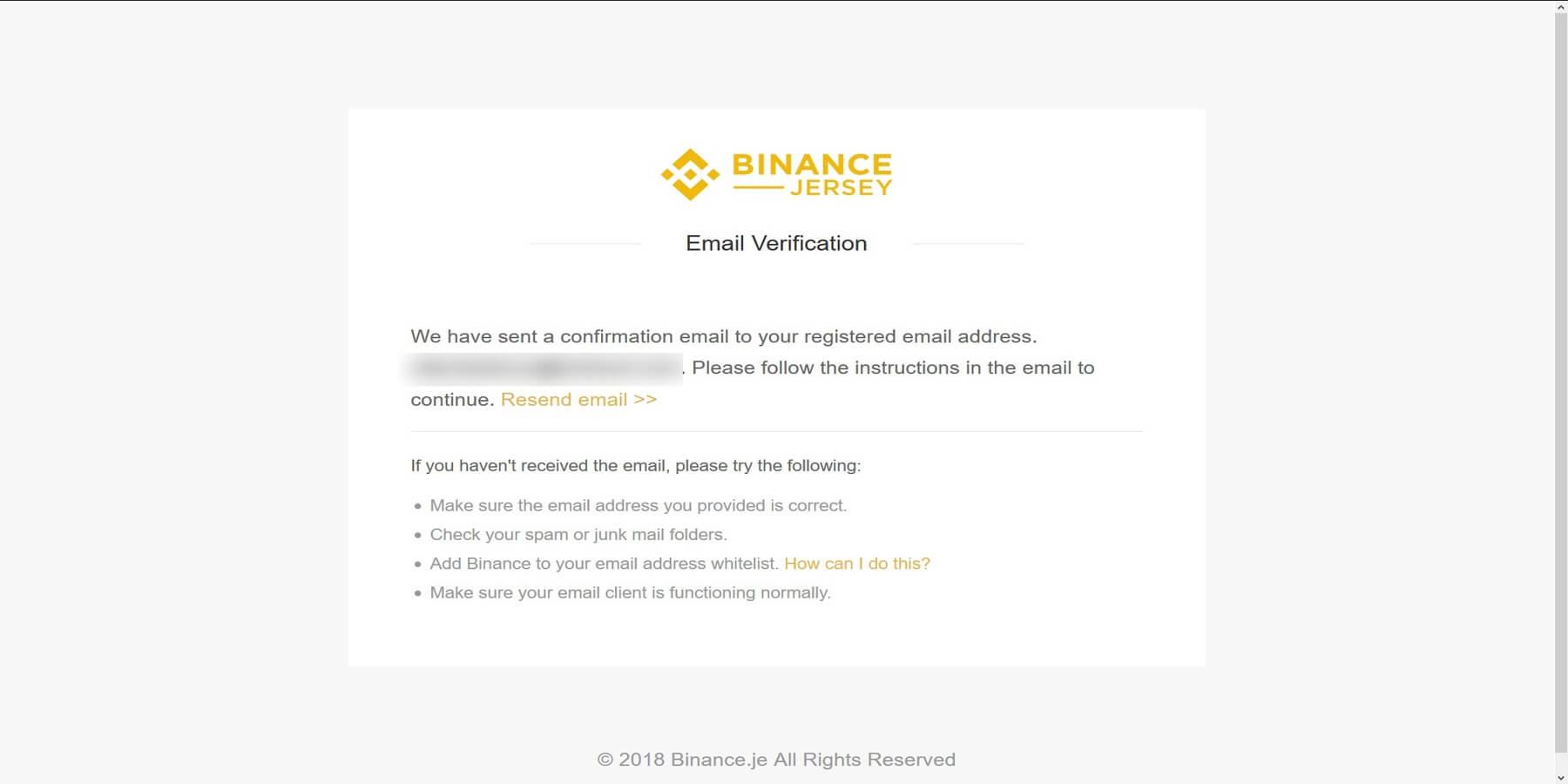 Confirmer mail Binance Jersey