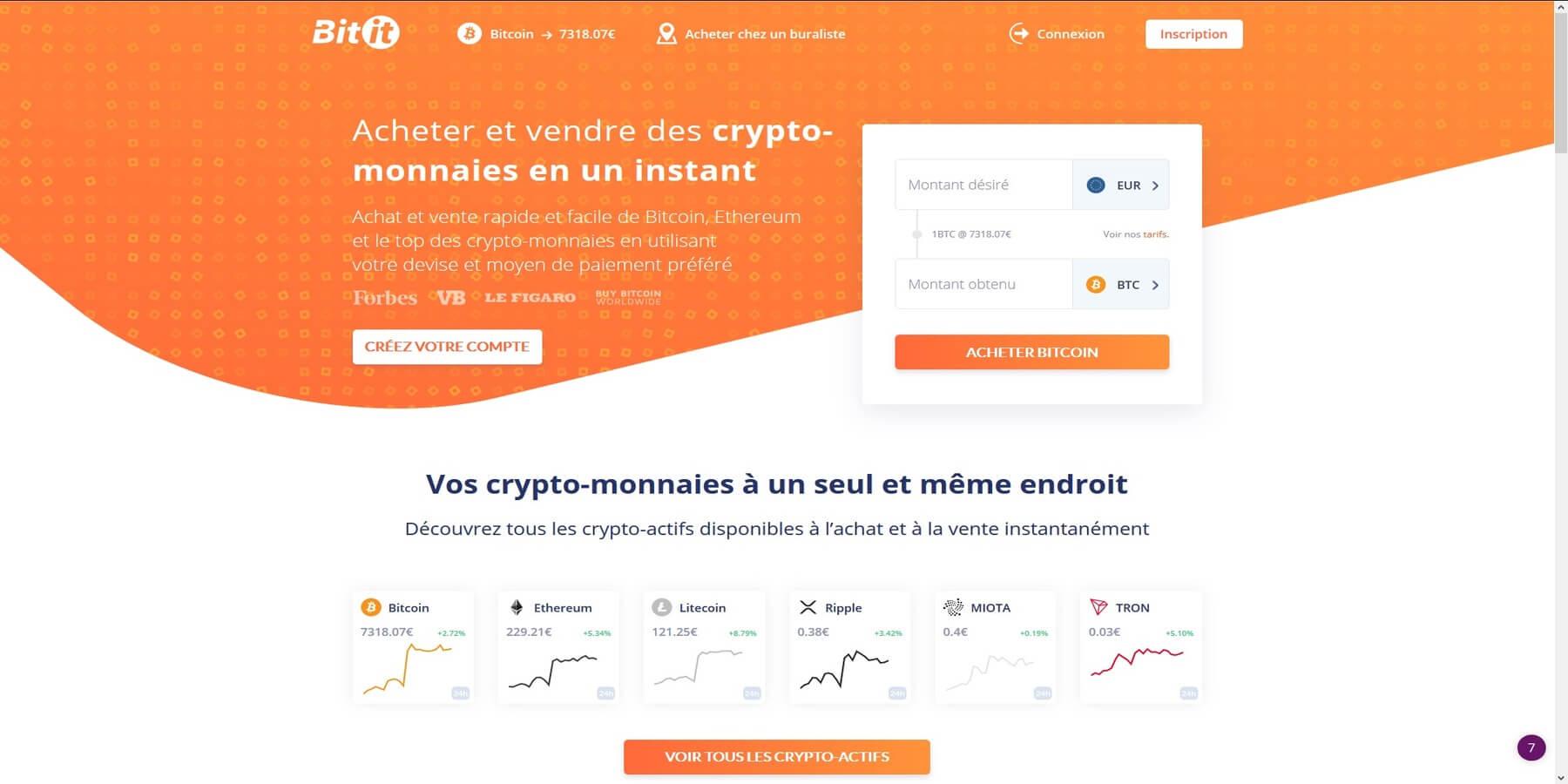 Acheter des cryptomonnaies chez Bitit