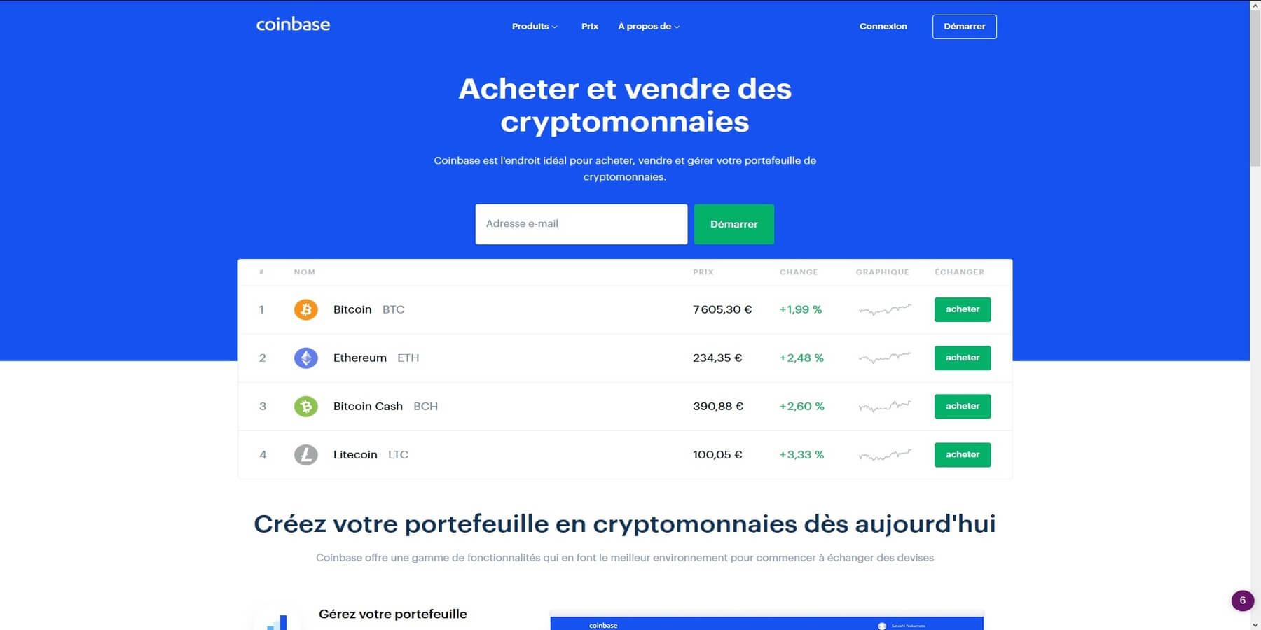Acheter des cryptomonnaies chez Coinbase