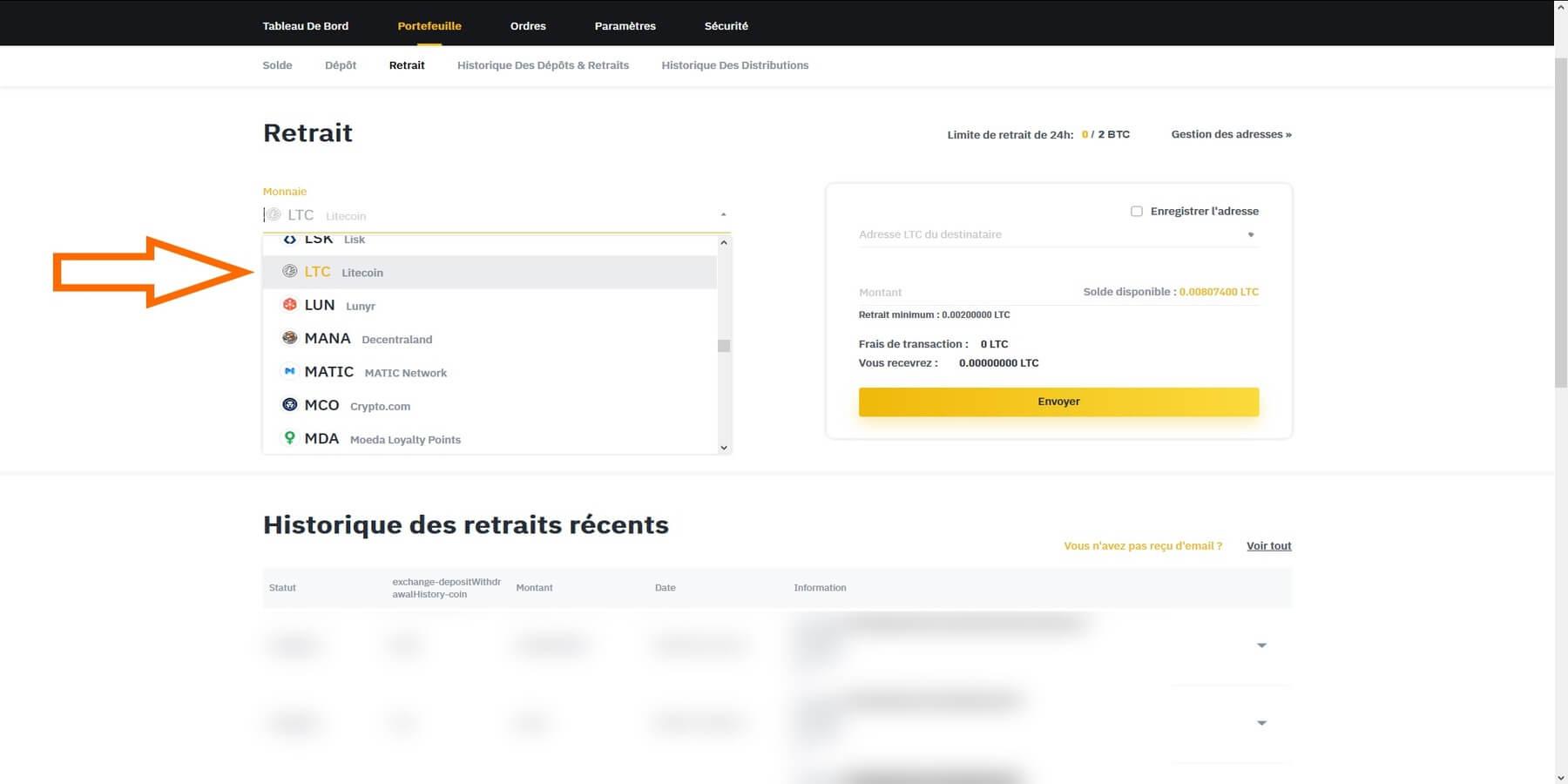 Choisir Litecoin retrait Binance