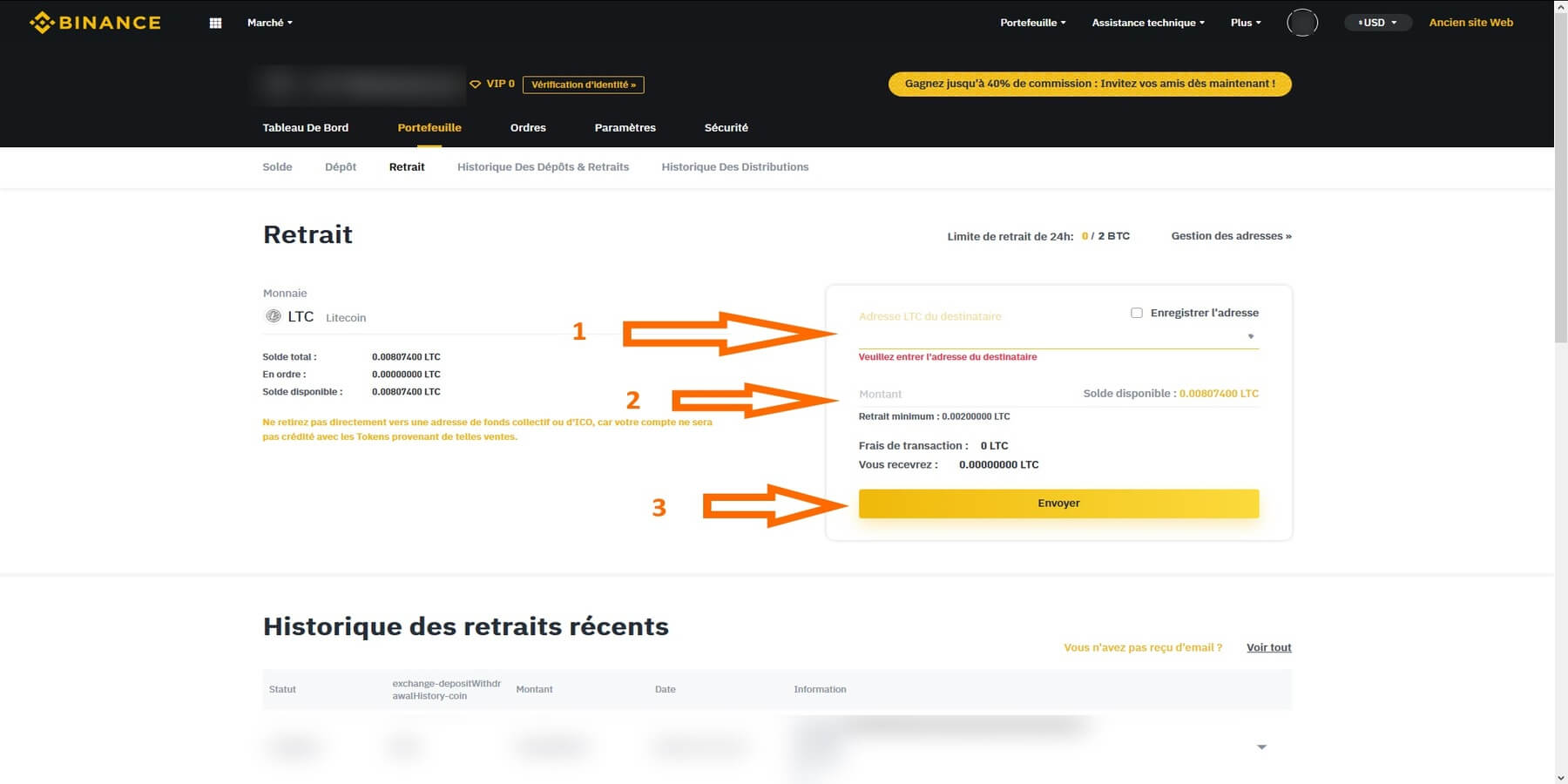 Configurer retrait Litecoin Binance