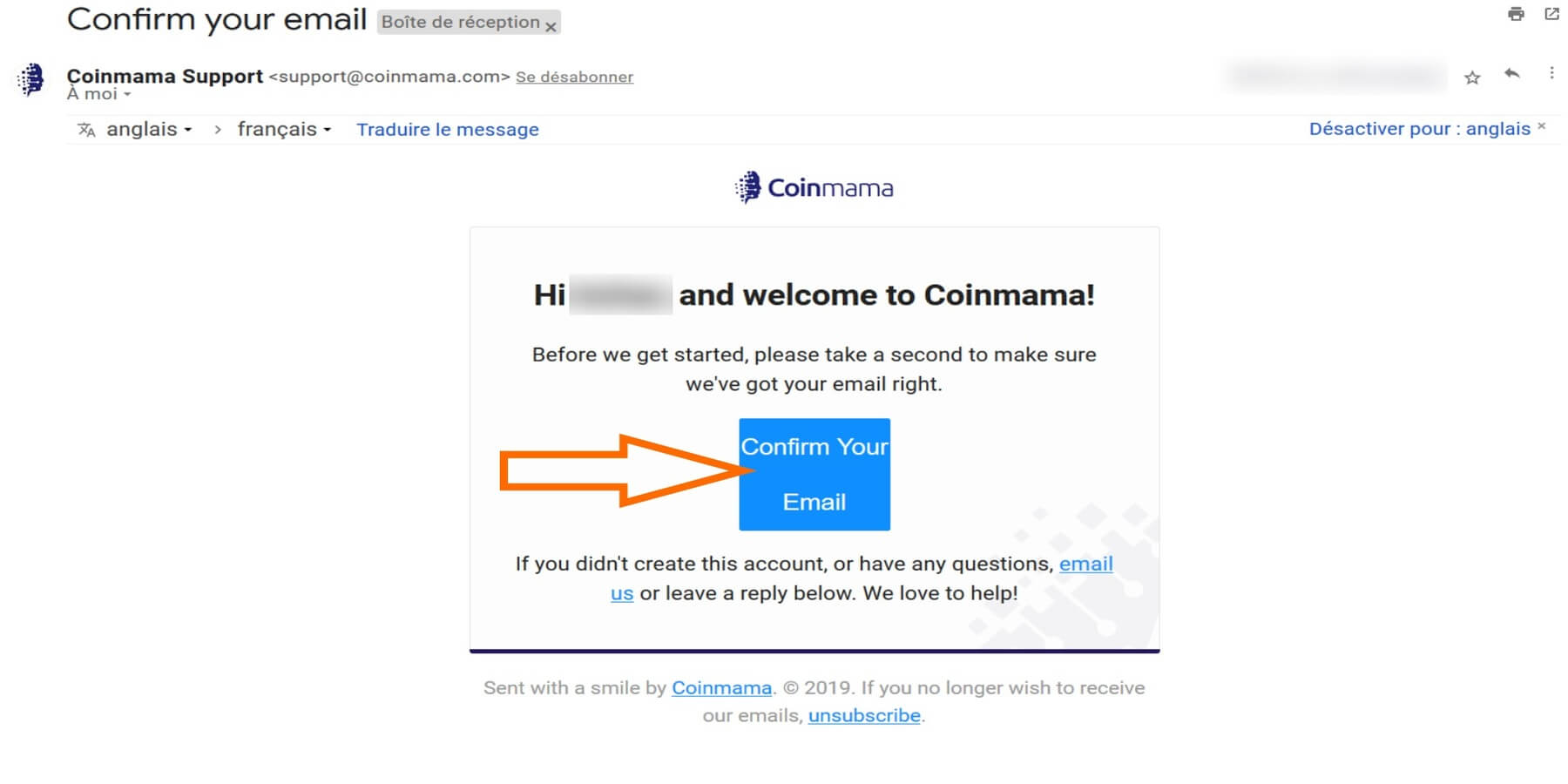 Confirmer mail Coinmama
