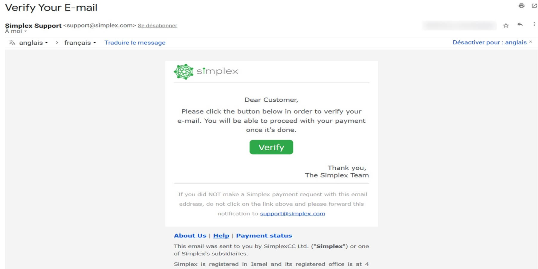 Confirmer mail Simplex Changelly