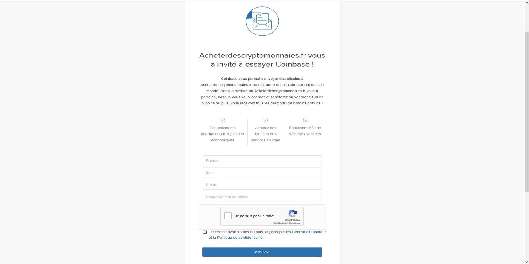 Créer un compte chez Coinbase