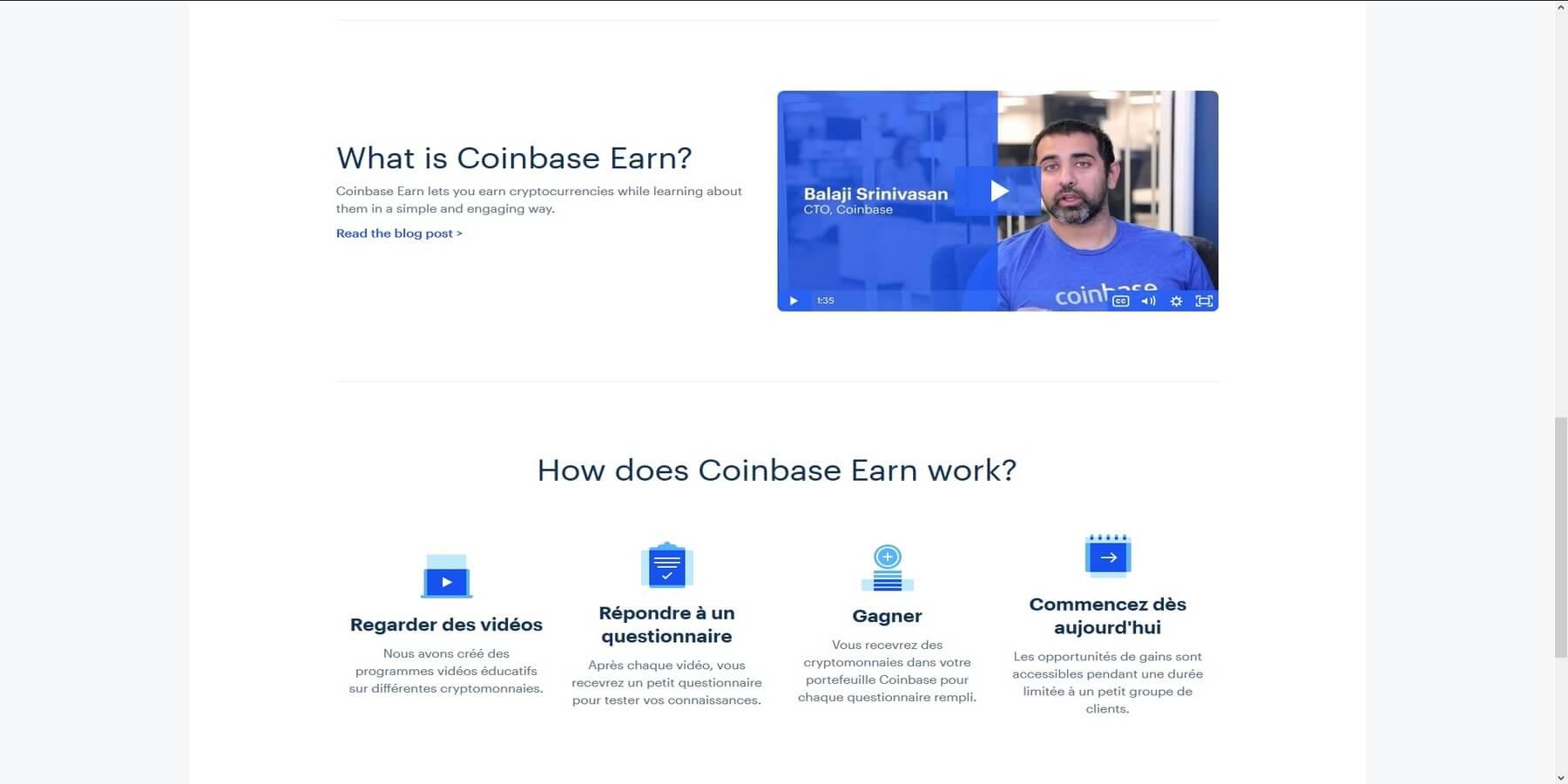Gagner des cryptomonnaies avec Coinbase earn suite