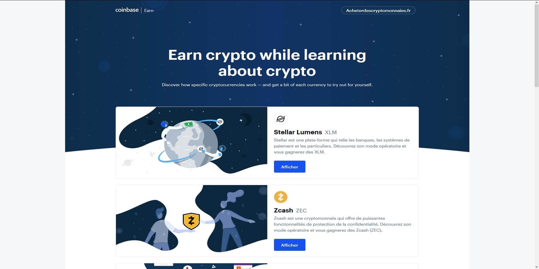 Gagner des cryptomonnaies avec Coinbase earn