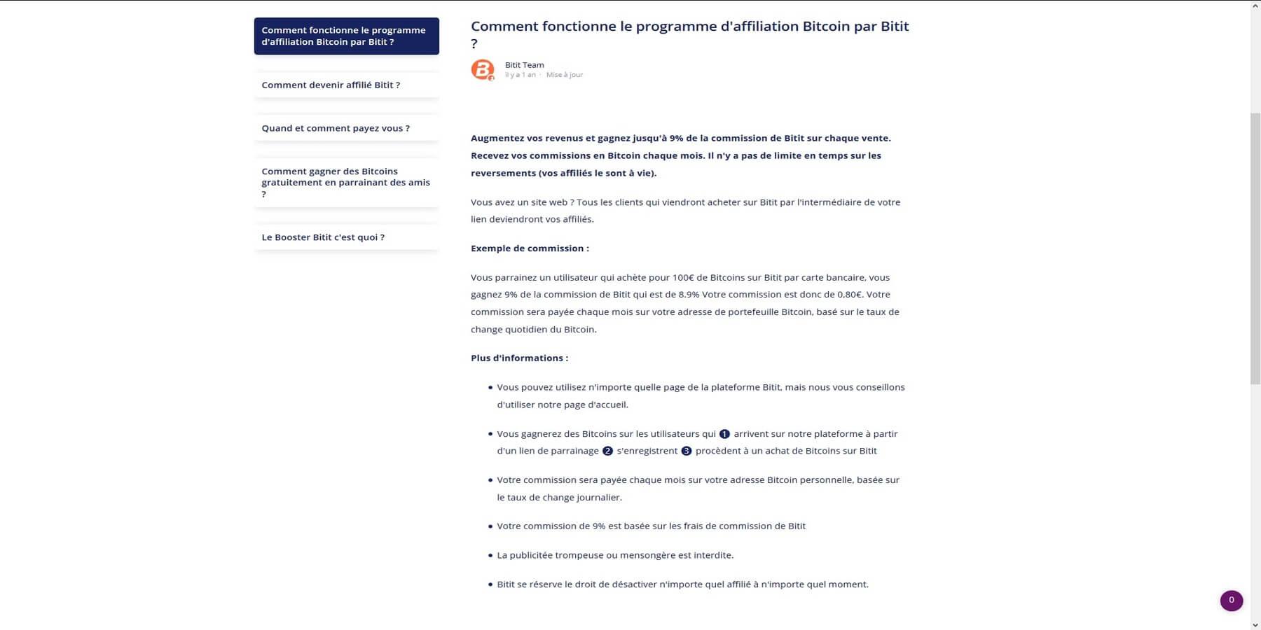 Programme d'affiliation Bitit