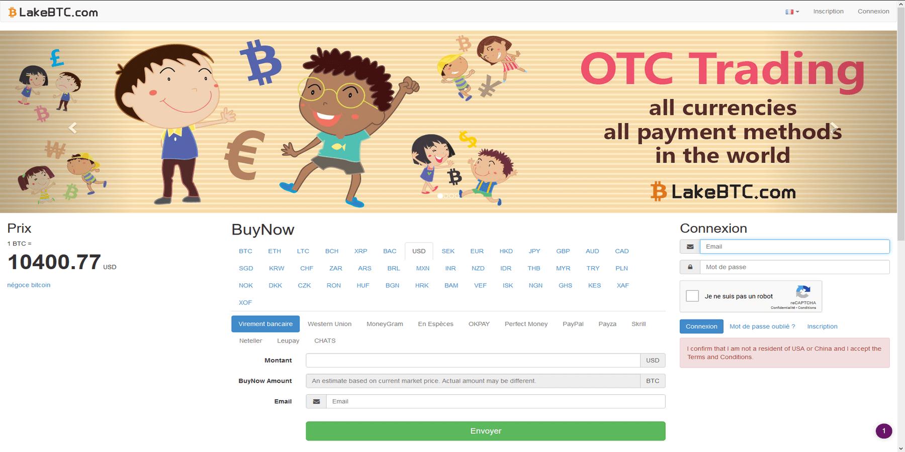 Acheter des cryptomonnaies chez LakeBTC