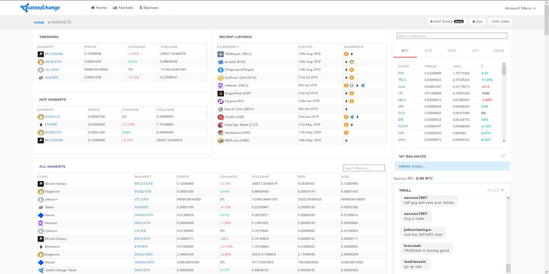 Actifs disponibles chez Satoexchange