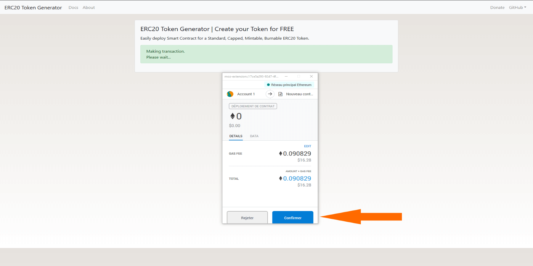 Confirmation et paiement création du token Ethereum