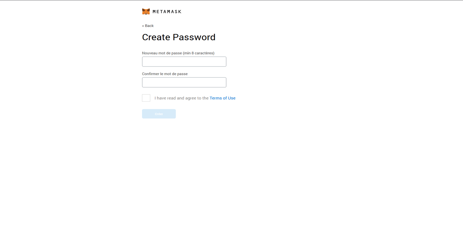 Créer un mot de de passe MetaMask