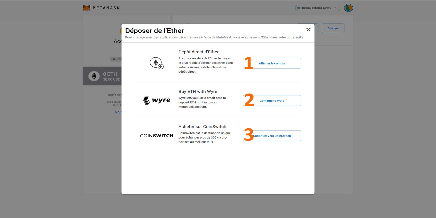 Déposer des Ethereums avec MetaMask