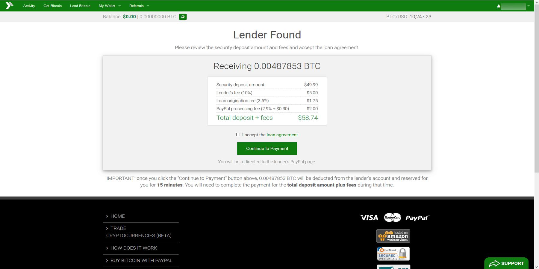 Exemple d'emprunt sur Xcoins