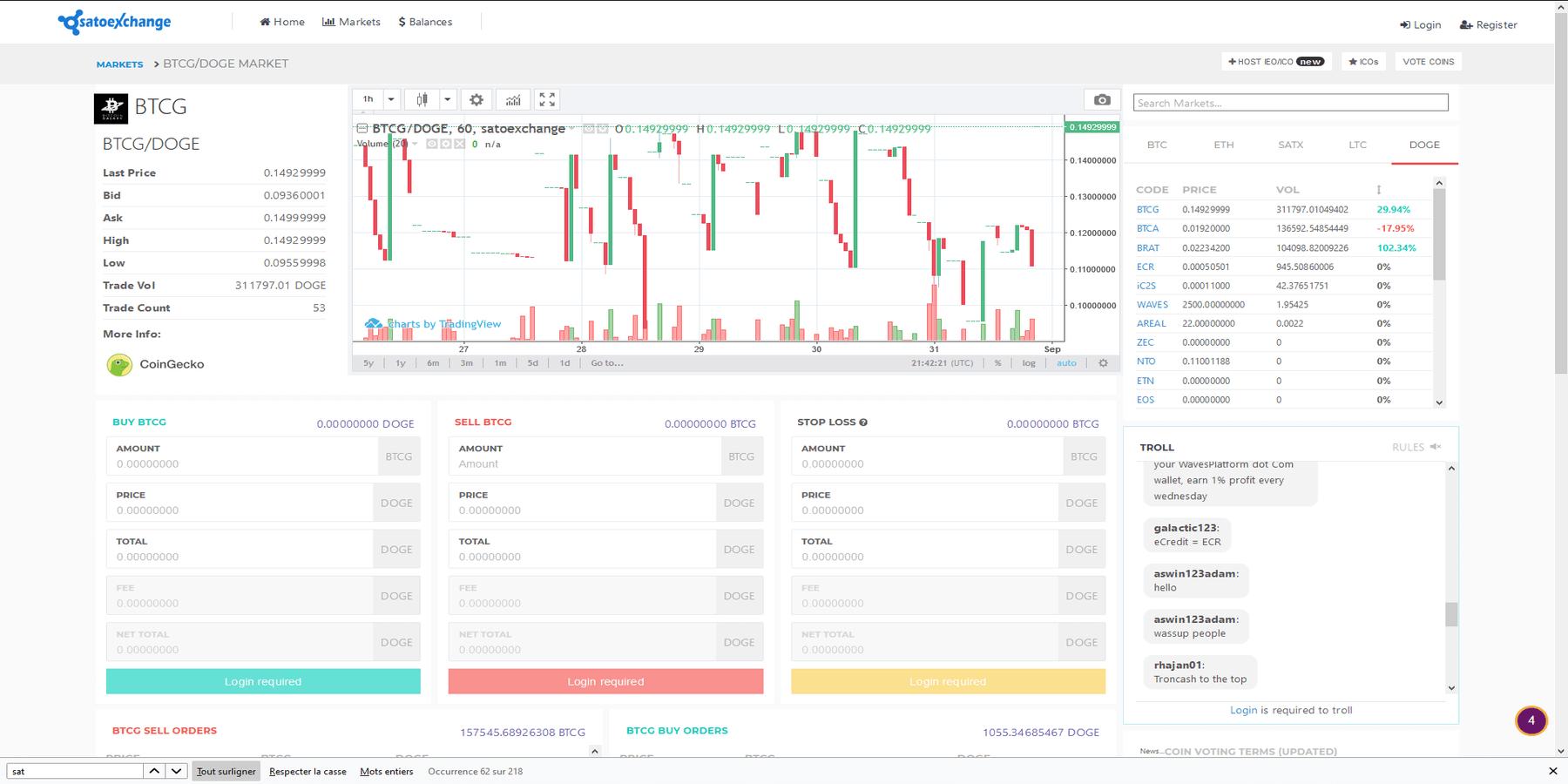 Plateforme de trading de Satoexchange