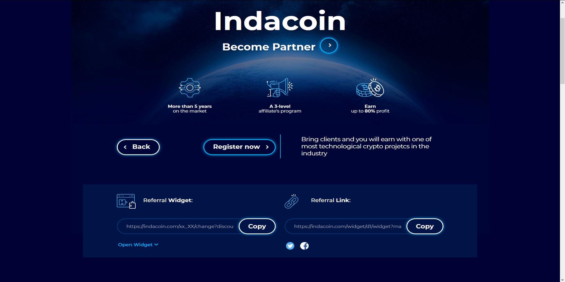 Programme de parrainage affiliation Indacoin
