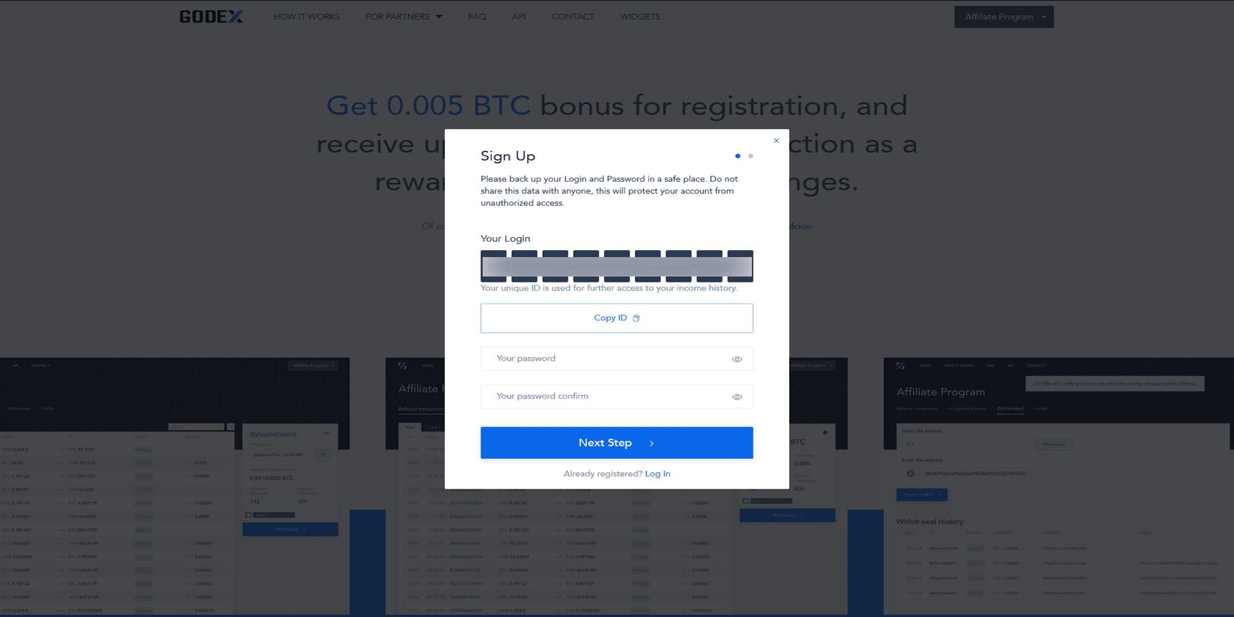 Créer un compte affiliation chez Godex
